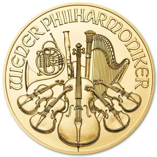 Złota moneta Wiedeńscy Filharmonicy 1/10 oz rewers