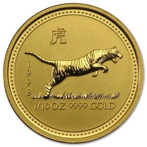 Złota moneta Australijski Lunar I Rok Tygrysa 1/10 oz rewers