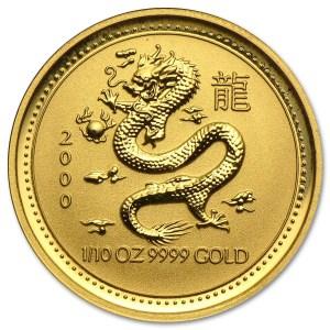 Złota moneta Australijski Lunar I Rok Smoka 1/10 oz rewers
