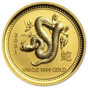 Złota moneta Australijski Lunar I Rok Węża 1/10 oz rewers