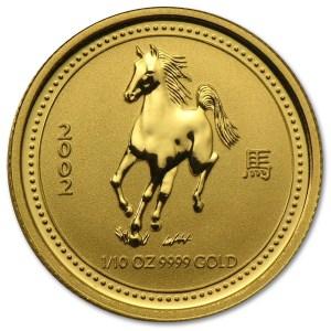 Złota moneta Australijski Lunar I Rok Konia 1/10 oz rewers