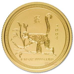 Złota moneta Australijski Lunar I Rok Małpy 1/10 oz rewers