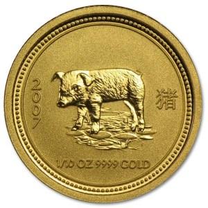Złota moneta Australijski Lunar I Rok Świni 1/10 oz rewers