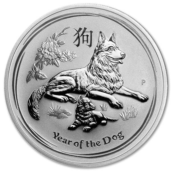 Srebrna moneta Lunar II Rok Psa 1 oz rewers