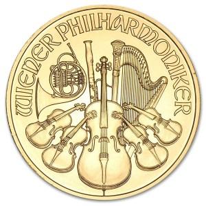 Złota moneta Filharmonicy Wiedeńscy 1 oz rewers