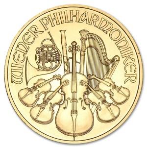 Złota moneta Filharmonicy Wiedeńscy 1/2 oz rewers