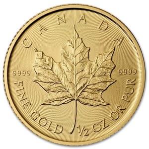 Złota moneta Kanadyjski Liść Klonu 1/2 oz rewers