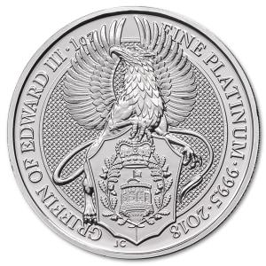 Platynowa moneta Bestie Królowej Gryf Edwarda III 1oz rewers