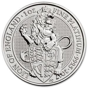 Platynowa moneta Bestie Królowej Lew Anglii 1 oz rewers