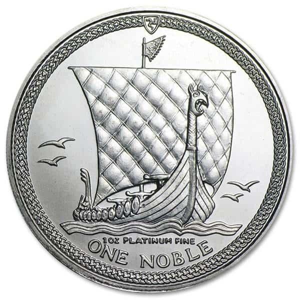 Platynowa moneta Noble Wyspa Man 1oz rewers