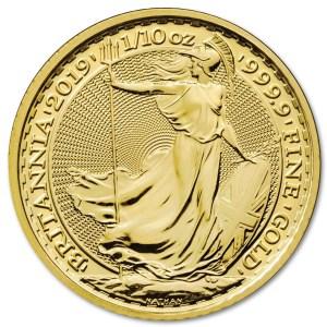 Złota moneta Britannia 1/10 oz rewers