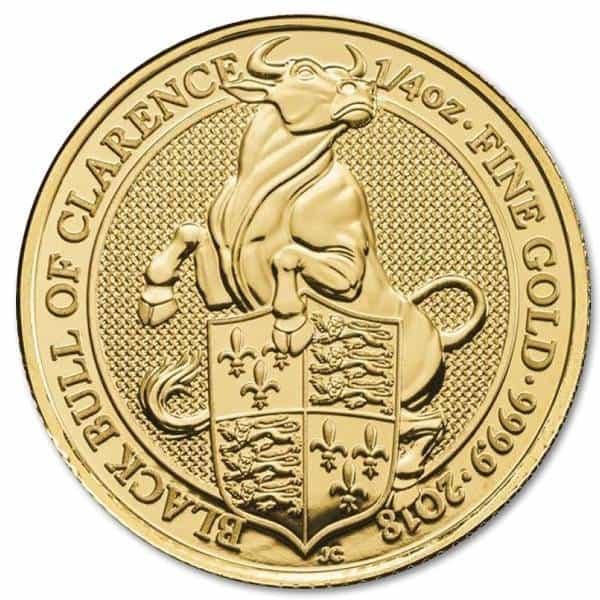 Złota moneta Bestie Królowej: Czarny Byk z Clarence 1/4 oz rewers