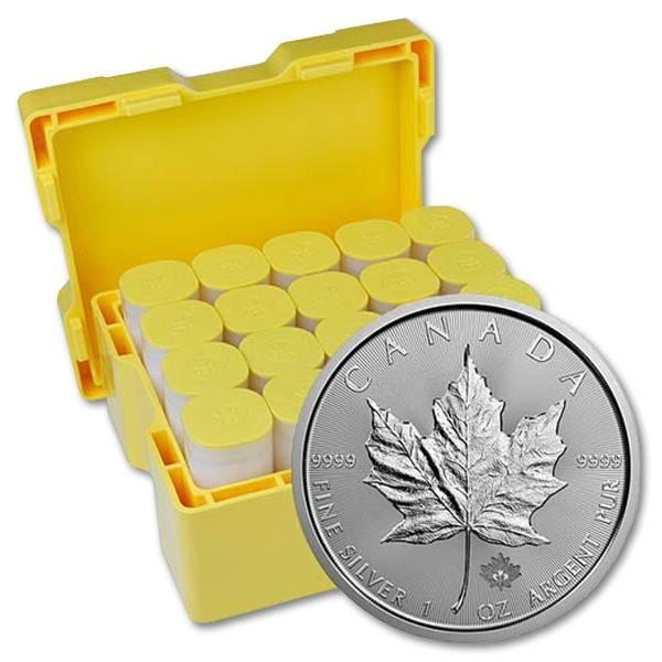 Zestaw 100 srebrnych monet Kanadyjski Liść Klonowy 1oz