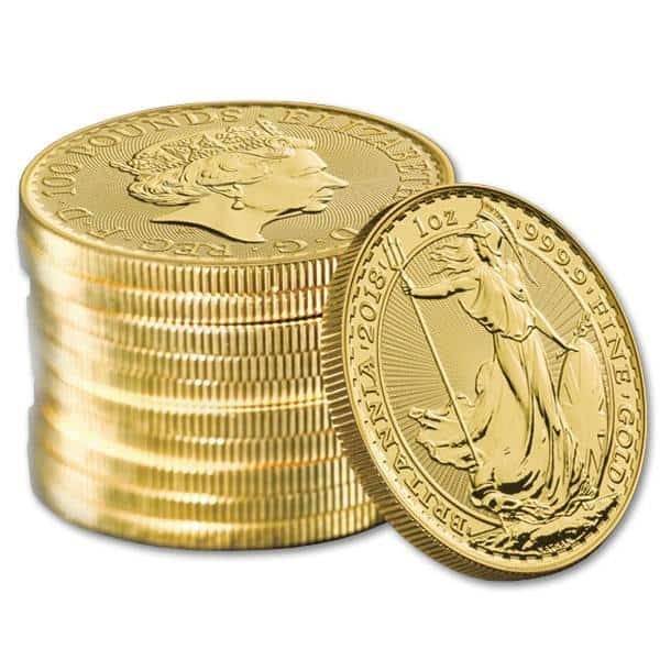Zestaw 10 x złota moneta Britannia 1 oz