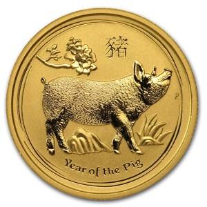 Złota moneta Australijski Lunar: Rok Świni 1/4 oz rewers