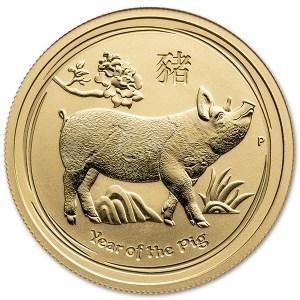 Złota moneta Australijski Lunar: Rok Świni 1/2oz rewers