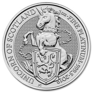 Platynowa moneta Bestie Królowej Szkocki Jednorożec 1oz rewers