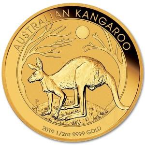Złota moneta Kangur Australijski 1/2 oz rewers
