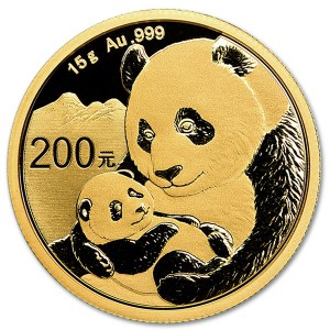Złota moneta Chińska Panda 15g rewers