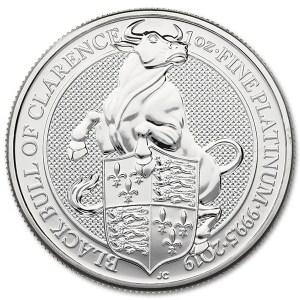 Platynowa moneta Bestie Królowej Czarny Byk z Clarence 1oz rewers