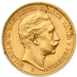 Złota moneta 20 Marek Wilhelm II rewers