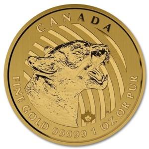 Złota moneta Zew Natury: Warczącą Puma 1oz 2015 rewers