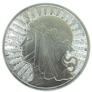 Srebrna sztabka w kształcie monety Jadwiga 1 oz rewers