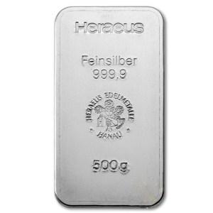 Inwestycyjna sztabka srebra Heraeus 500 g