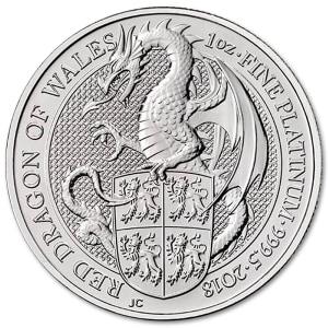 Platynowa moneta Bestie Królowej Czerwony Smok Walii 1oz rewers
