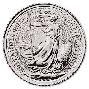 Platynowa moneta Britannia 1/10 oz rewers