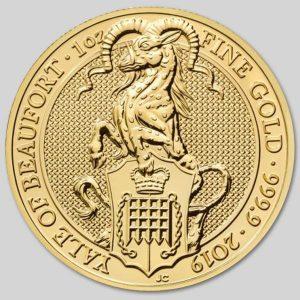 Złota moneta Bestie Królowej Yale Beaufortów 1oz rewers