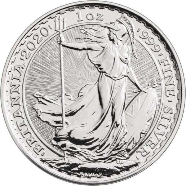 Srebrna moneta Britannia 1oz rewers