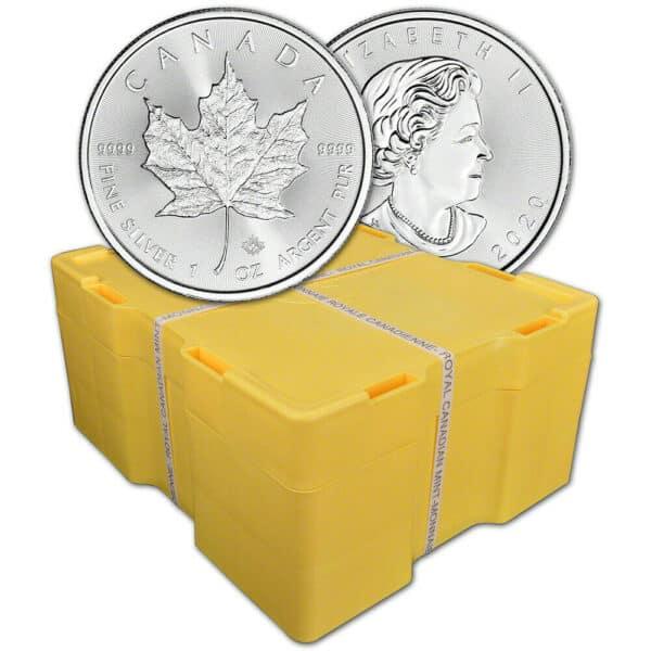 Zestaw 500 srebrnych monet Kanadyjski Liść Klonowy 1oz