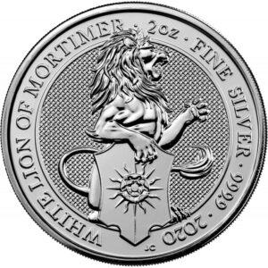 Srebrna moneta Bestia Królowej: Biały Lew Mortimerów 2oz rewers