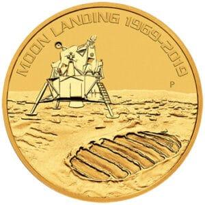 Złota moneta Apollo11 50'Rocznica Lądowania 1 oz rewers