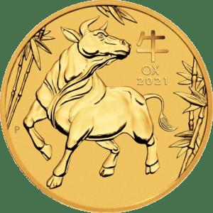 Złota moneta Lunar III Rok Bawołu 1/4 oz rewers