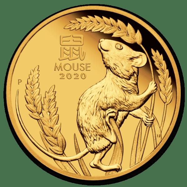 Złota moneta Lunar III Rok Myszy 1oz rewers