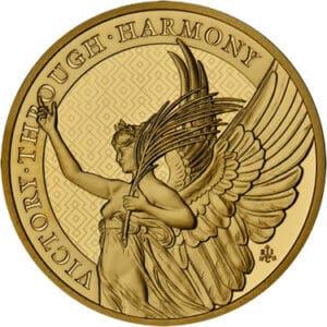 Złota moneta Cnoty Królowej Zwycięstwo 1 oz rewers