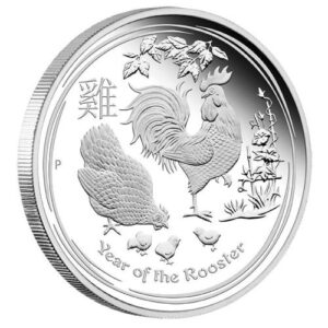 Srebrna moneta Lunar II Rok Koguta 1 oz rewers