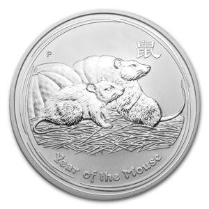 Srebrna moneta Lunar II Rok Myszy 1 oz rewers