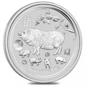 Srebrna moneta Lunar II Rok Świni 1 oz rewers