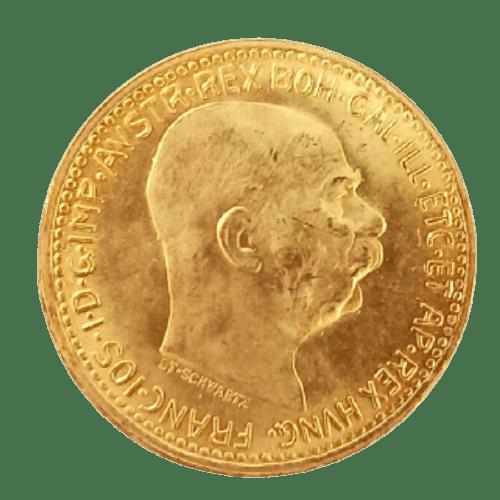 Złota moneta lokacyjna 10 koron Austro-Węgry rewers