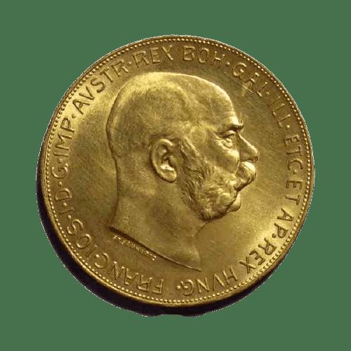 Złota moneta lokacyjna 100 koron rewers