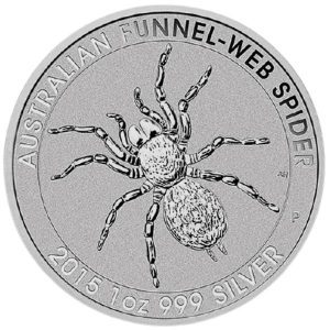 Srebrna moneta 1oz Australijski Ptasznik Funnel-Web Spider rewers