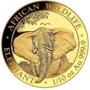 Złota moneta Słoń Somalijski 1/10 oz rewers