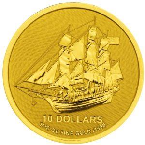 Złota Moneta Wyspy Cooka Bounty 1/10 oz rewers