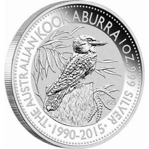 Srebrna moneta Kookaburra 1oz, wydanie jubileuszowe 2015 rewers