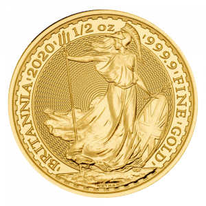 Złota moneta bulionowa Britannia 1/2 oz 2021 rewers