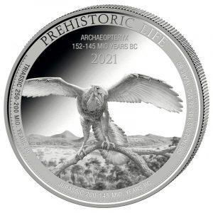 Srebrna moneta Archaeopteryx 1oz rewers