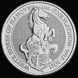 Platynowa moneta Biały Koń 1oz rewers